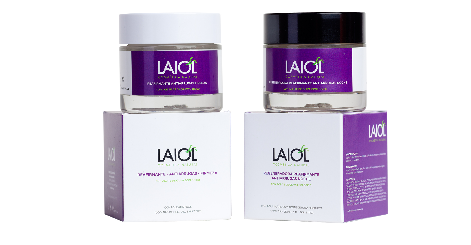 Diseño packaging Laiol cosmetics natural