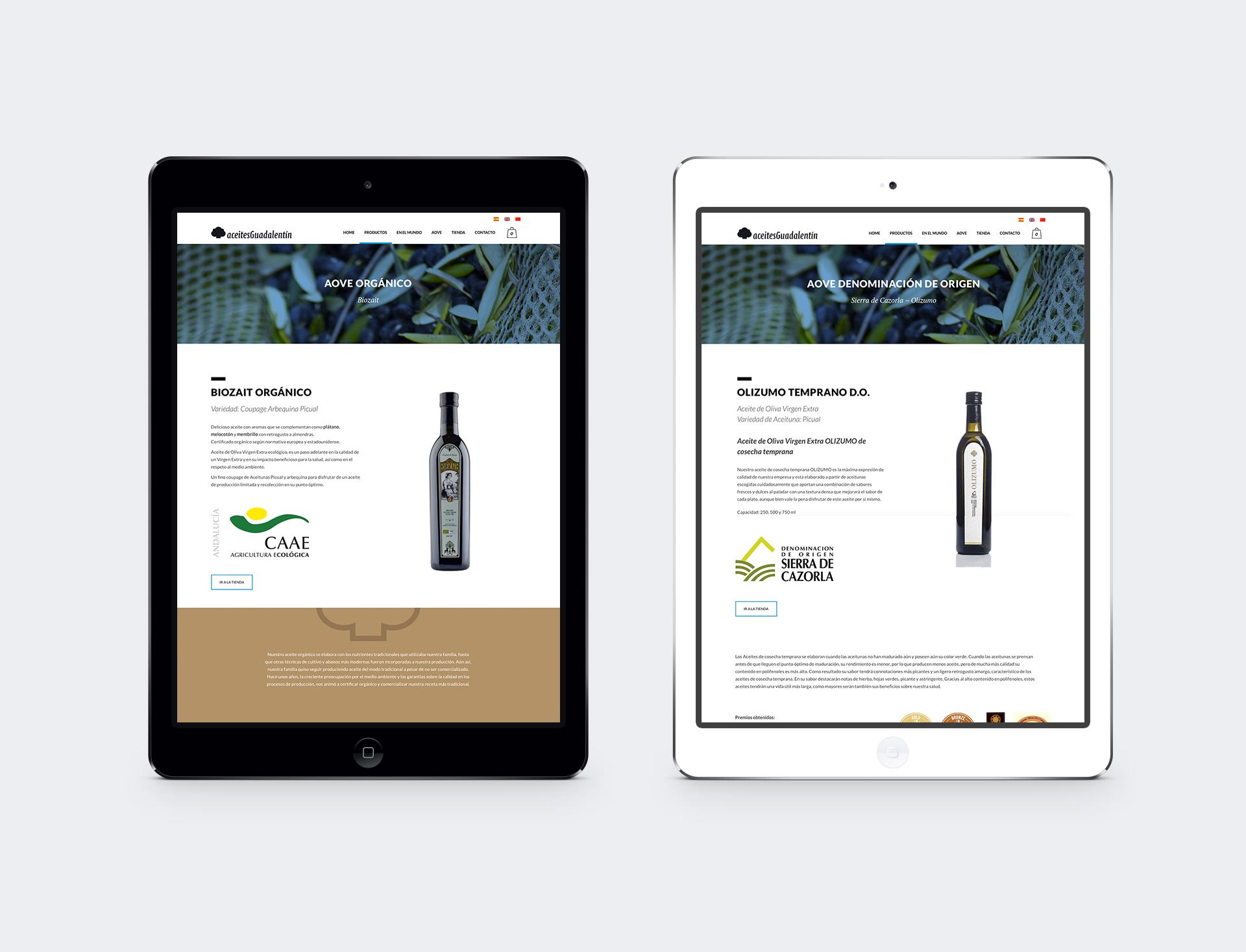 Aceites Guadalentín diseño web